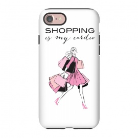 iPhone 8/7  Shopping Girl by Martina (shopping, cardio,shopping is my cardio,typography, quote, motto, words, wording, woman, girl,lady,shoppaholic,shopping bags,pink,modern, stylish, fashion, illustration, fashion illustration, unique, original, feminine, girlie, for her)