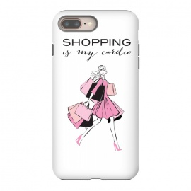 iPhone 8/7 plus  Shopping Girl by Martina (shopping, cardio,shopping is my cardio,typography, quote, motto, words, wording, woman, girl,lady,shoppaholic,shopping bags,pink,modern, stylish, fashion, illustration, fashion illustration, unique, original, feminine, girlie, for her)