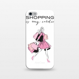 iPhone 5/5E/5s  Shopping Girl by Martina (shopping, cardio,shopping is my cardio,typography, quote, motto, words, wording, woman, girl,lady,shoppaholic,shopping bags,pink,modern, stylish, fashion, illustration, fashion illustration, unique, original, feminine, girlie, for her)