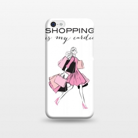 iPhone 5C  Shopping Girl by Martina (shopping, cardio,shopping is my cardio,typography, quote, motto, words, wording, woman, girl,lady,shoppaholic,shopping bags,pink,modern, stylish, fashion, illustration, fashion illustration, unique, original, feminine, girlie, for her)