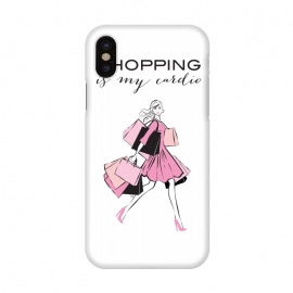 iPhone X  Shopping Girl by Martina (shopping, cardio,shopping is my cardio,typography, quote, motto, words, wording, woman, girl,lady,shoppaholic,shopping bags,pink,modern, stylish, fashion, illustration, fashion illustration, unique, original, feminine, girlie, for her)