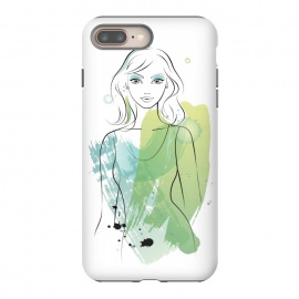 iPhone 8/7 plus  Pretty Mermaid by Martina (woman, girl, lady, mermaid,fish, pisces,portrait, pretty, beauty, young, happy,modern, original, stylish, unique, feminine, girlie,for her,illustration, watercolour, watercolor,green,water,fashion)