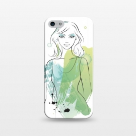 iPhone 5/5E/5s  Pretty Mermaid by  (woman, girl, lady, mermaid,fish, pisces,portrait, pretty, beauty, young, happy,modern, original, stylish, unique, feminine, girlie,for her,illustration, watercolour, watercolor,green,water,fashion)