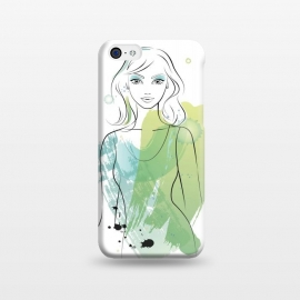 iPhone 5C  Pretty Mermaid by Martina (woman, girl, lady, mermaid,fish, pisces,portrait, pretty, beauty, young, happy,modern, original, stylish, unique, feminine, girlie,for her,illustration, watercolour, watercolor,green,water,fashion)