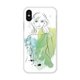 iPhone X  Pretty Mermaid by Martina (woman, girl, lady, mermaid,fish, pisces,portrait, pretty, beauty, young, happy,modern, original, stylish, unique, feminine, girlie,for her,illustration, watercolour, watercolor,green,water,fashion)