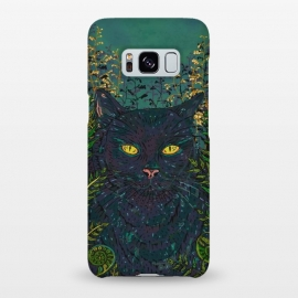 Galaxy S8+  Black Cat in Ferns by Lotti Brown