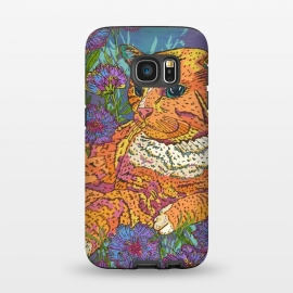 Galaxy S7  Ginger Cat in Flowers by Lotti Brown