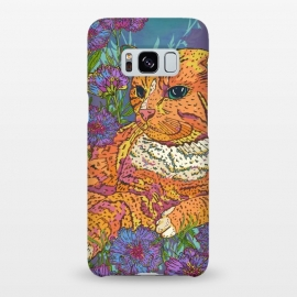 Galaxy S8+  Ginger Cat in Flowers by Lotti Brown