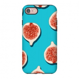iPhone 8/7  Fig Lover by Uma Prabhakar Gokhale (graphic design, pattern, fig, figs, fruits, fruit pattern, tropical, sweet, delicious, juicy, fruity, tropical food, blue, teal, pink, red)