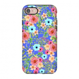 iPhone 8/7  Bageecha by Uma Prabhakar Gokhale (watercolor, pattern, floral, exotic, blue, pink, green, red, bold flowers, blossom, bloom, nature, botanical, leaves, garden)