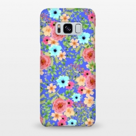 Galaxy S8+  Bageecha by Uma Prabhakar Gokhale (watercolor, pattern, floral, exotic, blue, pink, green, red, bold flowers, blossom, bloom, nature, botanical, leaves, garden)