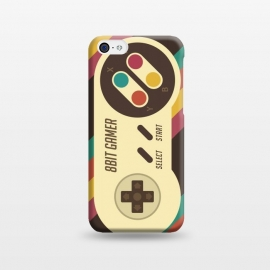 iPhone 5C  Retro Video Gamer Serie II by Dellán (gamer,video game,retro,vintage,classic, 8 bit,geek,nerd,computer,tech,hipster,brown color,80´s,90´s)