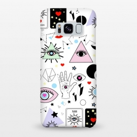 Galaxy S8+  Magic eyes white by MUKTA LATA BARUA (eyes,evil eye,magic,pink,red,black,white,illustration,graphic,vector,moon,new moon,eyelash,crystals,tarot cards,destiny,power)