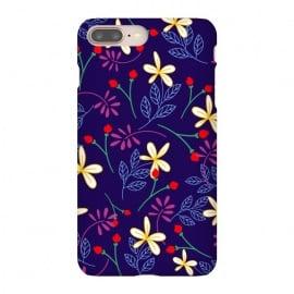 iPhone 8/7 plus  Floral Paradise II by  (flower,flowers,dark blue,floral,graphics,white,pattern,design,nature,garden,botanical,elegant ,pretty,fluer)