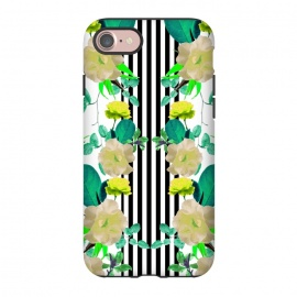 iPhone 8/7  Spring Garden (Green-Yellow) by Zala Farah (stripes,flowers,stripes and flowers,flower art,flower print,flower pattern,flower collage,art,print,pattern,collage,floral,flora,floral print,floral art,flora art,floral collage,nature,striped art,botanic,spring garden,spring,spring flowers,green,yellow,green flowers,yellow flowers,zala02creations,z)