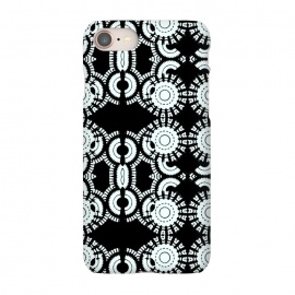 iPhone 8/7 SlimFit Inner Workings by Bettie * Blue (black and white,black & white,geometric,geo,pattern)