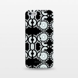 iPhone 5/5E/5s  Inner Workings by Bettie * Blue (black and white,black & white,geometric,geo,pattern)