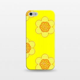 iPhone 5/5E/5s  Flowerama by Bettie * Blue (yellow,bright colors,vintage,retro,groovy,hip,flowers,floral,orange,fun,vibes,throwback,sixties)