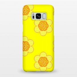 Galaxy S8+  Flowerama by Bettie * Blue (yellow,bright colors,vintage,retro,groovy,hip,flowers,floral,orange,fun,vibes,throwback,sixties)
