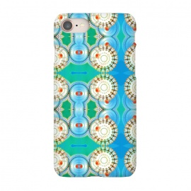 iPhone 8/7 SlimFit Electric Boogaloo by Bettie * Blue (geo,geometric,mandala,blue and green,bright colors,fun,whimsical)