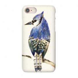 iPhone 8/7 SlimFit Bluebird of Happiness by Bettie * Blue (bird,bluebird,blue jay,illustration,colored pencil,drawing,winter,blue,feathers,beauty,nature,animal)