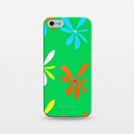 iPhone 5/5E/5s  Groovy, Man! by Bettie * Blue (green,groovy,retro,vintage,mid century modern,flowers,floral,hippy,fun,bright colors,colorful,flower power)