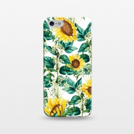 iPhone 5/5E/5s  Sunflower Valley by Uma Prabhakar Gokhale (graphic, pattern, sunflower, floral, yellow, sunny, valley, nature, botanical, leaves, green, blossom, bloom, flourish, garden)