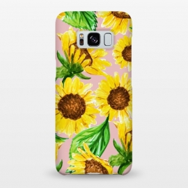 Galaxy S8+  Sunny by Uma Prabhakar Gokhale (pattern, sunflowers, sun flower, sunslower, valley, nature, botanical, pink, pastel, yellow, sunny, bright, blossom, floral, leaves, flowers, bloom, flourish, exotic)