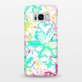 Galaxy S8+  Philocaly by Uma Prabhakar Gokhale (pattern, watercolor, acrylic, floral, nature, minimal, white, pink, green, bright, colorful, exotic, blossom, bloom, flowers)