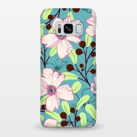 Galaxy S8+  Ludic by Uma Prabhakar Gokhale (graphic, pattern, pink, blue, teal, green, brown, floral, blossom, exotic, bloom, nature, botanical, vines)
