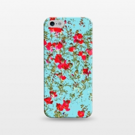 iPhone 5/5E/5s  Not Enough Flowers by Uma Prabhakar Gokhale (graphic, pattern, watercolor, floral, flowers, teal, red, nature, bloom, exotic, botanical, garden, meadow)
