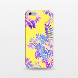 iPhone 5/5E/5s  Vibrance by Uma Prabhakar Gokhale (pattern, watercolor, purple, indigo, yellow, bright, nature, leaves, botanical, floral, colorful, vibrant, exotic, blossom, bloom)