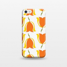 iPhone 5C  Tulips d'Orange by Bettie * Blue (orange,tulips,yellow,sunshine,happy,warm,pattern,flowers,floral,geometric)