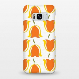 Galaxy S8+  Tulips d'Orange by Bettie * Blue (orange,tulips,yellow,sunshine,happy,warm,pattern,flowers,floral,geometric)