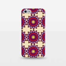 iPhone 5/5E/5s  Earth Praise Mandala by Bettie * Blue (mandala,pattern,bright colors,earth tones,geo,red)