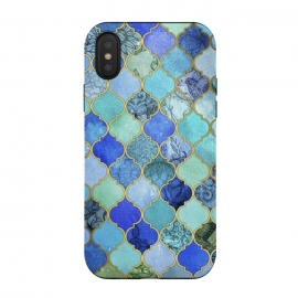 Cobalt Blue Aqua and Gold Decorative Moroccan Tile Pattern by Micklyn Le Feuvre ()