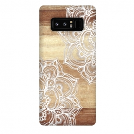 Galaxy Note 8  White doodles on blonde wood by Micklyn Le Feuvre ()