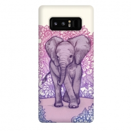 Galaxy Note 8  Cute Baby Elephant in pink purple and blue by  ()
