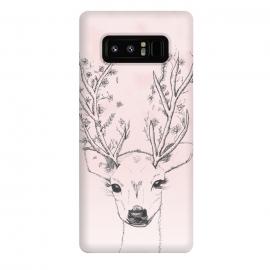 Galaxy Note 8  Cute Handdrawn Floral Deer Antlers Pink by