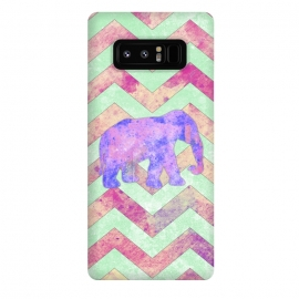 Galaxy Note 8  Elephant Mint Green Chevron Pink Watercolor by Girly Trend