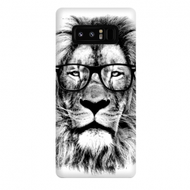 Galaxy Note 8  The King Lion of The Library by Mitxel Gonzalez (lion,hipster,glasses,funny,animal,roar,cool,leon)