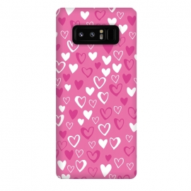 Galaxy Note 8  Pink Lovehearts by Rhiannon Pettie (Pink,Hearts,loveheart,valentines,romance)