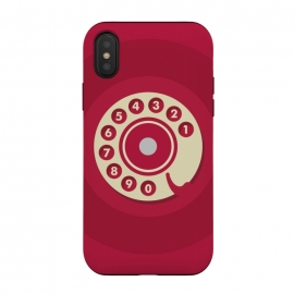 iPhone Xs / X  Vintage Red Telephone by  (retro,phone,smart phone,telephone,vintage,red,classic,call,funny,numbers,gender neutral,wonan fashion,men fashion,geek,hipster,collectable,minimalist)