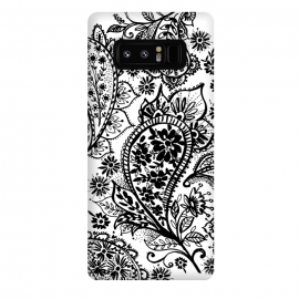 Galaxy Note 8  Ink paisley by Laura Grant (paisley,blackandwhite,pattern)