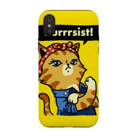 Purrrsist! by Vó Maria (cat,cats,kitten,poster,propaganda,vintage,world war,rosie,riveter,rosie the riveter,feminist,feminism,girl,power)
