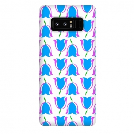 Galaxy Note 8  Tulip Love Blue by Bettie * Blue (blue,tulips,flowers,floral,graphic,pattern,bright colors,happy)