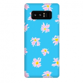 Galaxy Note 8  Pink Snow & Sky by Bettie * Blue (daisies, daisy, flowers, floral, pattern,pink,blue, sky,feminine,happy,bright colors)