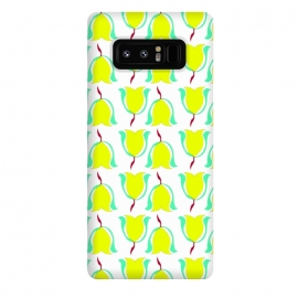 Galaxy Note 8  Tulips de Chartreuse by Bettie * Blue (tulips,flowers,floral,spring,yellow,pattern,modern,contemporary)
