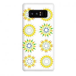 Galaxy Note 8  Springtime  by Bettie * Blue (spring, mandala,geometric,colorful,yellow,flowers,pattern,happy,joy,fun)