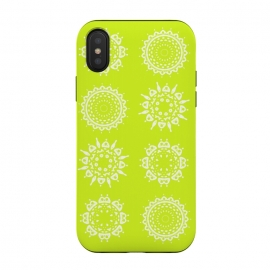 iPhone Xs / X  Oh Chartreuse! by  (mandala,chartreuse,green,spring,flowers,geometric,floral,happy)